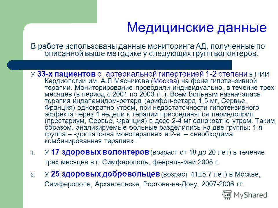 Медицинские данные В работе использованы данные мониторинга АД, полученные по описанной выше методике у следующих групп волонтеров: У 33-х пациентов с артериальной гипертонией 1-2 степени в НИИ Кардиологии им. А.Л.Мясникова (Москва) на фоне гипотензи