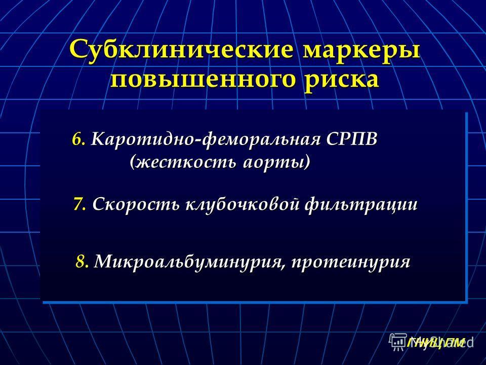 Субклинические маркеры повышенного риска 7. Скорость клубочковой фильтрации 7. Скорость клубочковой фильтрации 8. Микроальбуминурия, протеинурия ГНИЦ ПМ 6. Каротидно-феморальная СРПВ 6. Каротидно-феморальная СРПВ (жесткость аорты)