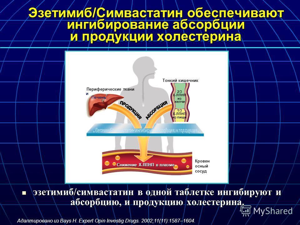 Эзетимиб/Симвастатин обеспечивают ингибирование абсорбции и продукции холестерина эзетимиб/симвастатин в одной таблетке ингибируют и абсорбцию, и продукцию холестерина. эзетимиб/симвастатин в одной таблетке ингибируют и абсорбцию, и продукцию холесте