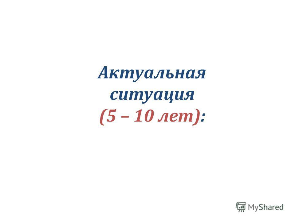 Актуальная ситуация (5 – 10 лет):