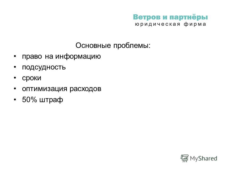 Основные проблемы: право на информацию подсудность сроки оптимизация расходов 50% штраф