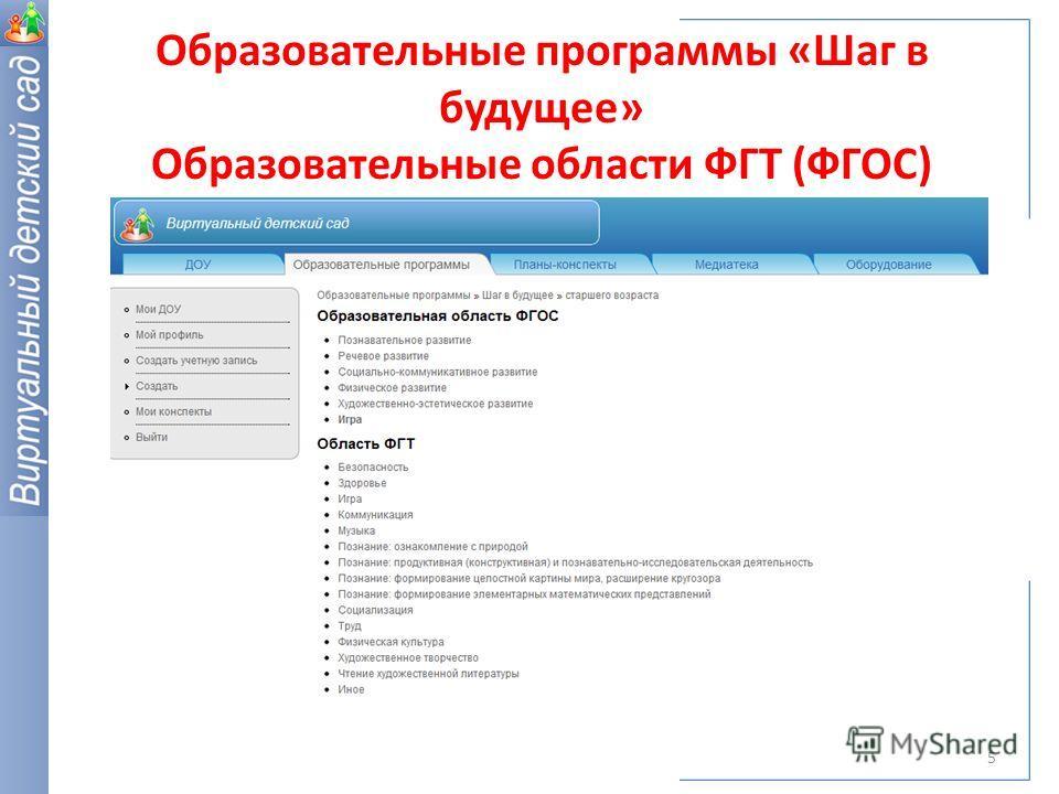 Образовательные программы «Шаг в будущее» Образовательные области ФГТ (ФГОС) 5