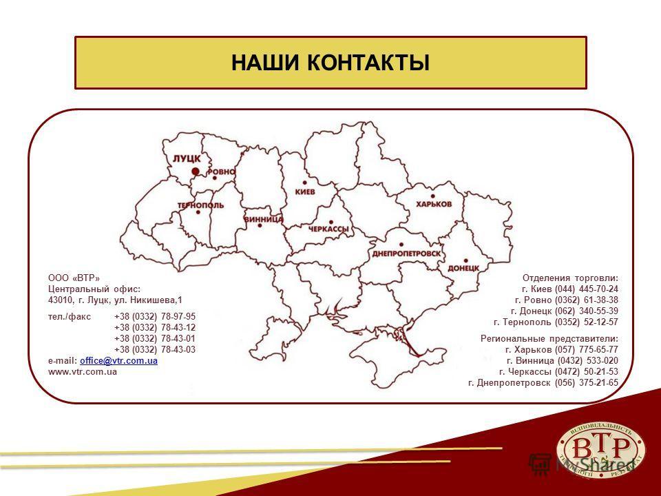 26 НАШИ КОНТАКТЫ Отделения торговли: г. Киев (044) 445-70-24 г. Ровно (0362) 61-38-38 г. Донецк (062) 340-55-39 г. Тернополь (0352) 52-12-57 Региональные представители: г. Харьков (057) 775-65-77 г. Винница (0432) 533-020 г. Черкассы (0472) 50-21-53