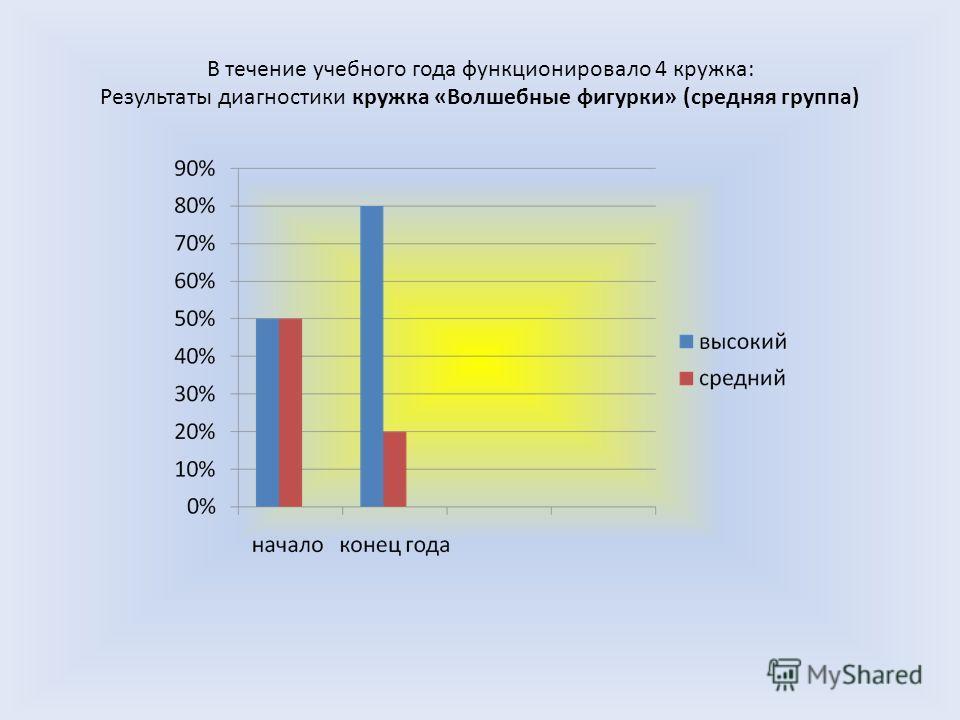 В течение учебного года функционировало 4 кружка: Результаты диагностики кружка «Волшебные фигурки» (средняя группа)