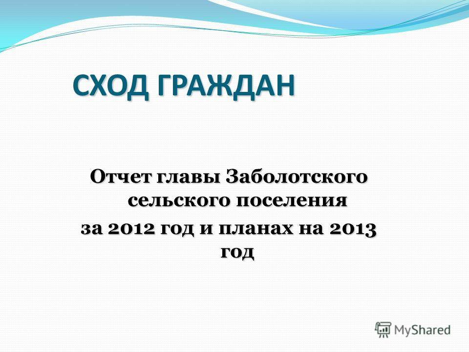 СХОД ГРАЖДАН Отчет главы Заболотского сельского поселения за 2012 год и планах на 2013 год