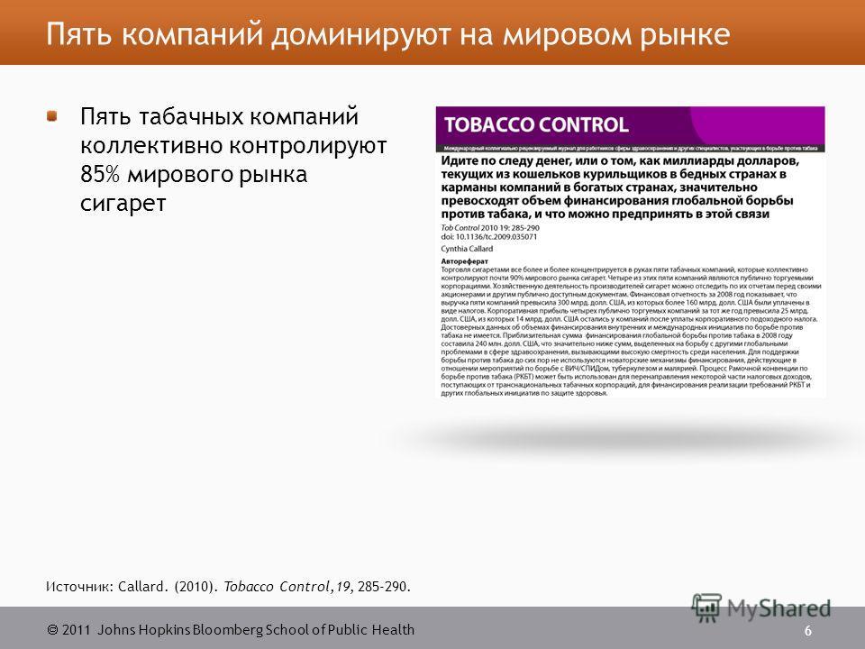 2011 Johns Hopkins Bloomberg School of Public Health Пять компаний доминируют на мировом рынке Пять табачных компаний коллективно контролируют 85% мирового рынка сигарет 6 Источник: Callard. (2010). Tobacco Control,19, 285-290.