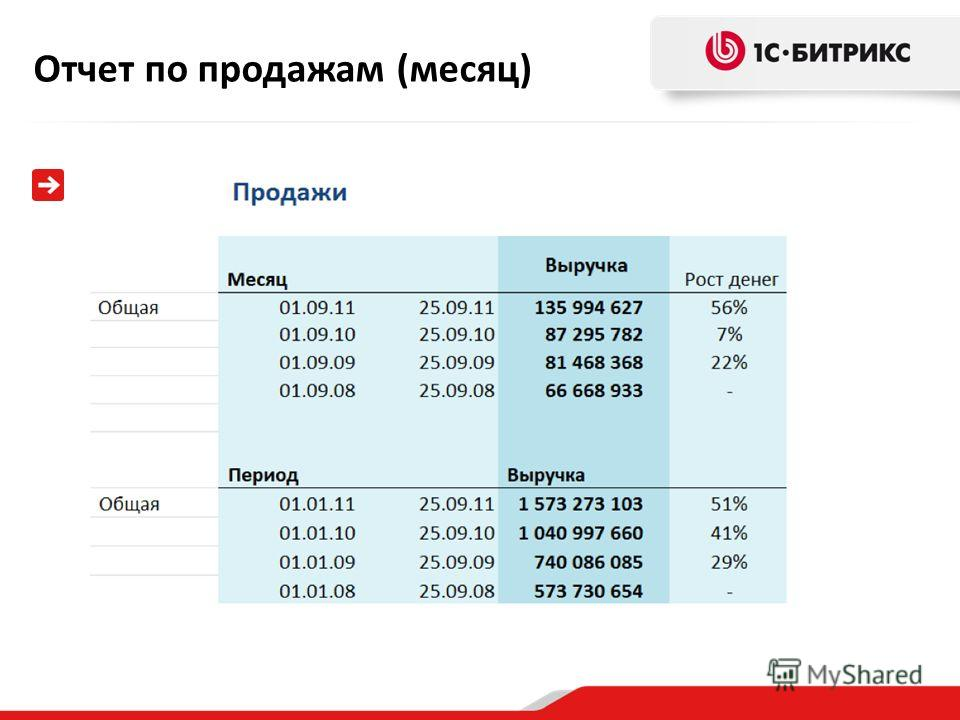 Отчет по продажам (месяц)
