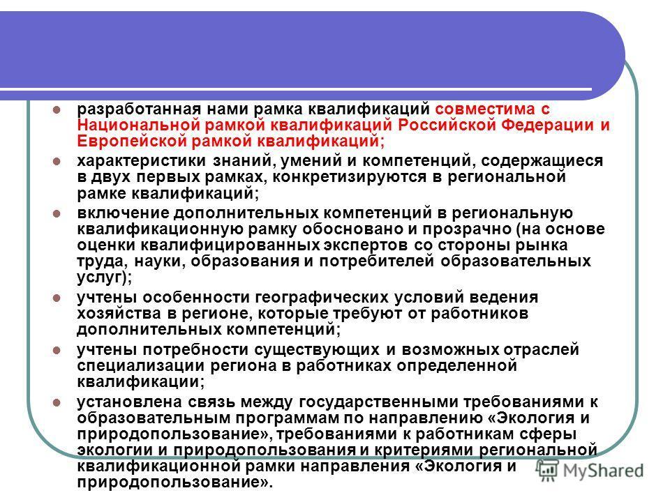 разработанная нами рамка квалификаций совместима с Национальной рамкой квалификаций Российской Федерации и Европейской рамкой квалификаций; характеристики знаний, умений и компетенций, содержащиеся в двух первых рамках, конкретизируются в регионально