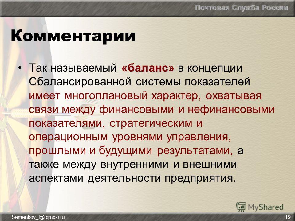 Почтовая Служба России Semenkov_I@tqmxxi.ru19 Комментарии «баланс»Так называемый «баланс» в концепции Сбалансированной системы показателей имеет многоплановый характер, охватывая связи между финансовыми и нефинансовыми показателями, стратегическим и