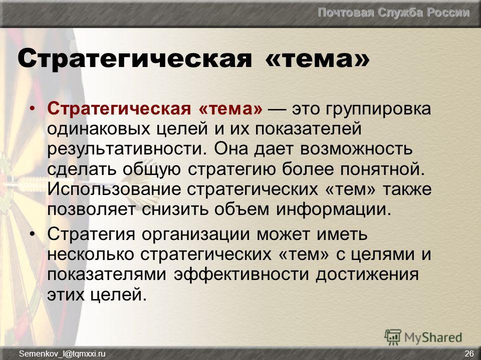 Почтовая Служба России Semenkov_I@tqmxxi.ru26 Стратегическая «тема» Стратегическая «тема» это группировка одинаковых целей и их показателей результативности. Она дает возможность сделать общую стратегию более понятной. Использование стратегических «т