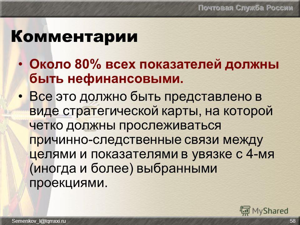 Почтовая Служба России Semenkov_I@tqmxxi.ru58 Комментарии Около 80% всех показателей должны быть нефинансовыми. Все это должно быть представлено в виде стратегической карты, на которой четко должны прослеживаться причинно-следственные связи между цел