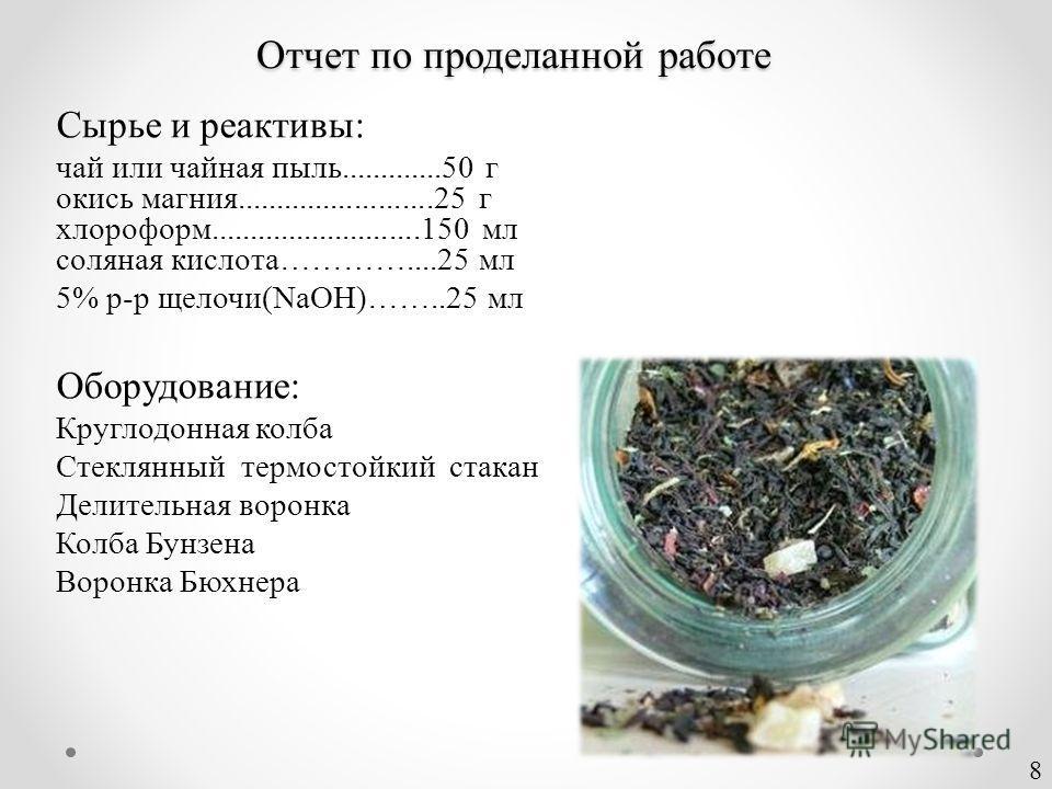 Сырье и реактивы: чай или чайная пыль.............50 г окись магния.........................25 г хлороформ...........................150 мл соляная кислота…………....25 мл 5% р-р щелочи(NaOH)……..25 мл Оборудование: Круглодонная колба Стеклянный термосто