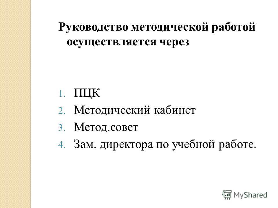 Руководство методической работой осуществляется через 1. ПЦК 2. Методический кабинет 3. Метод.совет 4. Зам. директора по учебной работе.