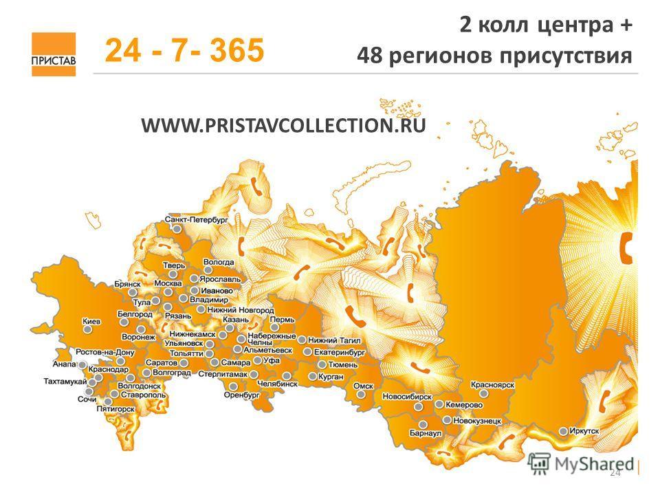 24 2 колл центра + 48 регионов присутствия WWW.PRISTAVCOLLECTION.RU 24 - 7- 365