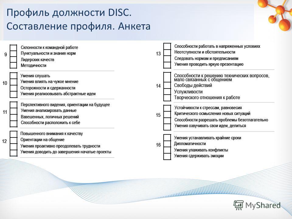 Профиль должности DISC. Составление профиля. Анкета