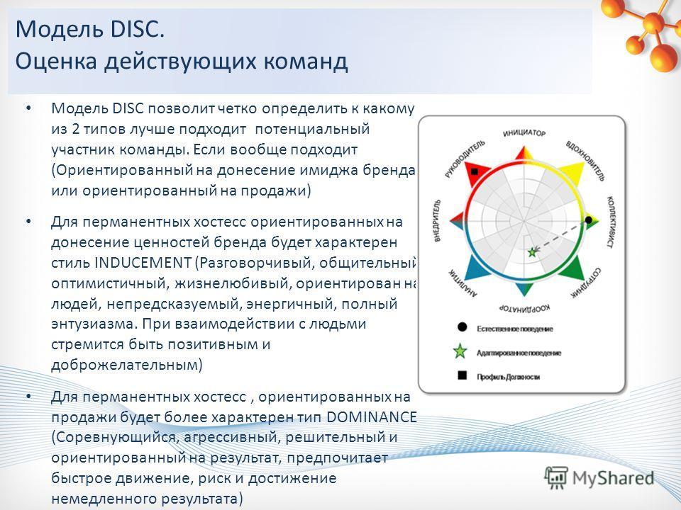 Модель DISC позволит четко определить к какому из 2 типов лучше подходит потенциальный участник команды. Если вообще подходит (Ориентированный на донесение имиджа бренда или ориентированный на продажи) Для перманентных хостесс ориентированных на доне