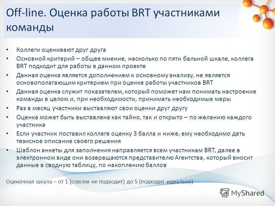 Off-line. Оценка работы BRT участниками команды Коллеги оценивают друг друга Основной критерий – общее мнение, насколько по пяти бальной шкале, коллега BRT подходит для работы в данном проекте Данная оценка является дополнением к основному анализу, н