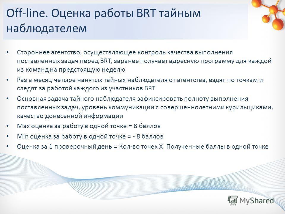 Off-line. Оценка работы BRT тайным наблюдателем Стороннее агентство, осуществляющее контроль качества выполнения поставленных задач перед BRT, заранее получает адресную программу для каждой из команд на предстоящую неделю Раз в месяц четыре нанятых т