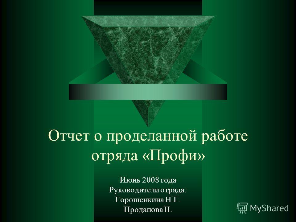 Отчет о проделанной работе отряда «Профи» Июнь 2008 года Руководители отряда: Горошенкина Н.Г. Проданова Н.