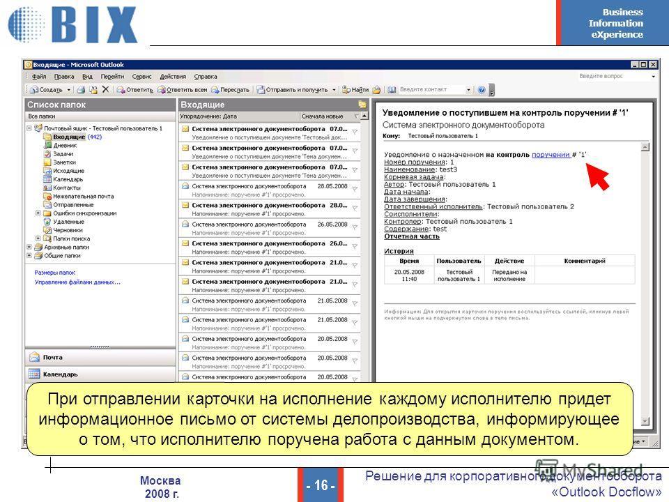 Business Information eXperience - 16 - Решение для корпоративного документооборота «Outlook Docflow» Москва 2008 г. При отправлении карточки на исполнение каждому исполнителю придет информационное письмо от системы делопроизводства, информирующее о т