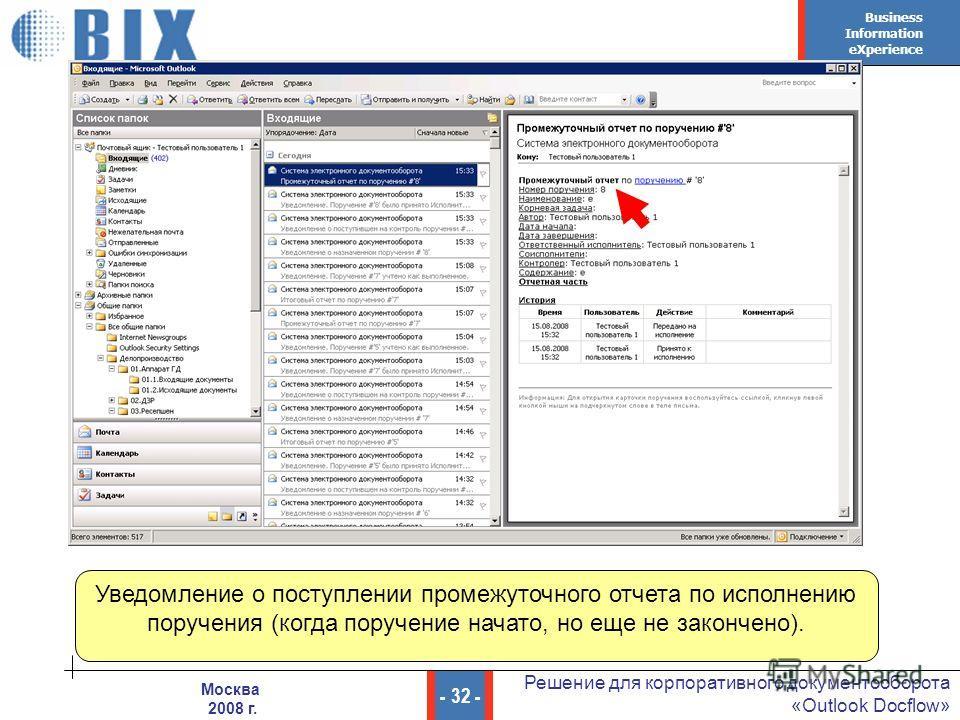 Business Information eXperience - 32 - Решение для корпоративного документооборота «Outlook Docflow» Москва 2008 г. Уведомление о поступлении промежуточного отчета по исполнению поручения (когда поручение начато, но еще не закончено).
