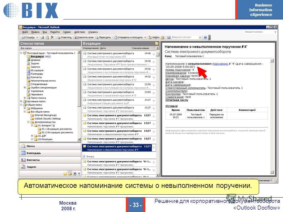 Business Information eXperience - 33 - Решение для корпоративного документооборота «Outlook Docflow» Москва 2008 г. Автоматическое напоминание системы о невыполненном поручении.