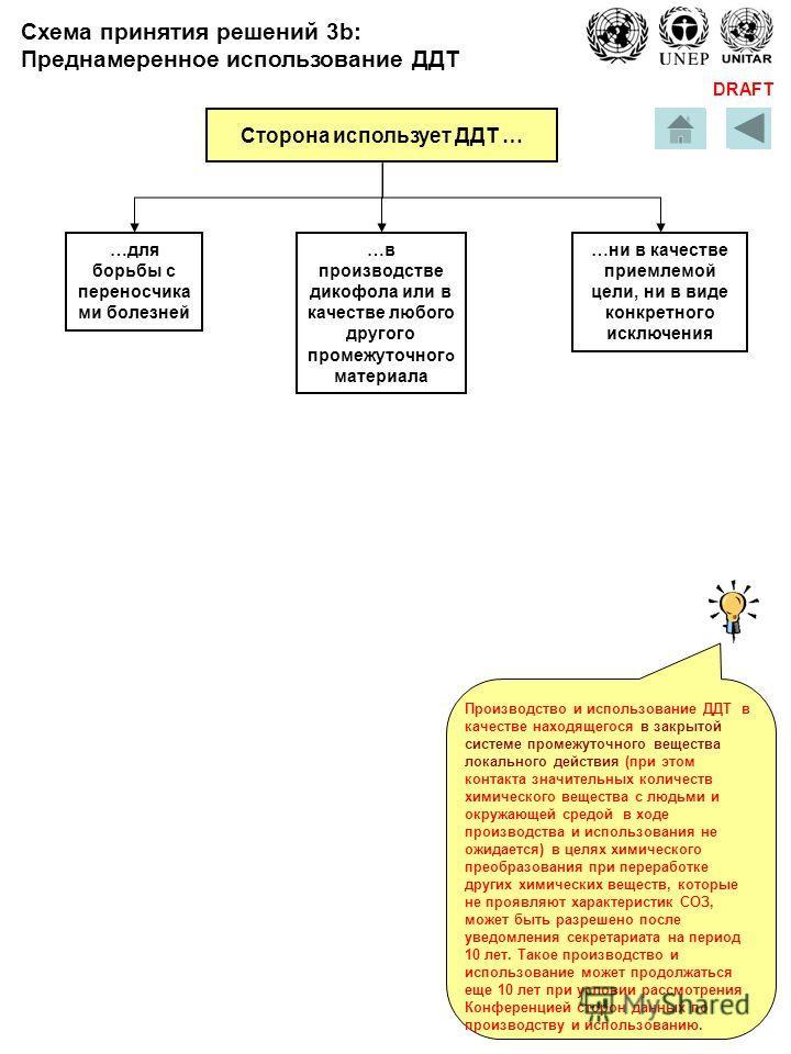DRAFT Сторона использует ДДТ … для борьбы с переносчика ми болезней …в производстве дикофола или в качестве любого другого промежуточног о материала …ни в качестве приемлемой цели, ни в виде конкретного исключения Производство и использование ДДТ в к