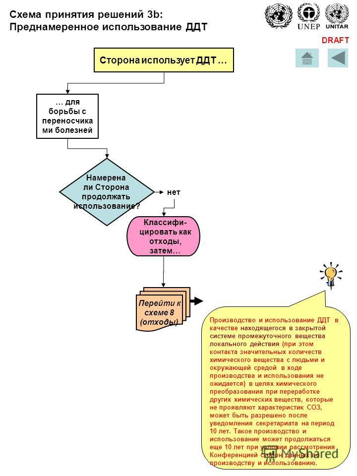 DRAFT Сторона использует ДДТ … для борьбы с переносчика ми болезней Производство и использование ДДТ в качестве находящегося в закрытой системе промежуточного вещества локального действия (при этом контакта значительных количеств химического вещества