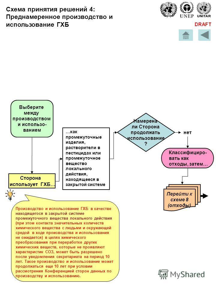 DRAFT …как промежуточные изделия, растворители в пестицидах или промежуточное вещество локального действия, находящееся в закрытой системе Выберите между производством и использо- ванием Сторона использует ГХБ… Намерена ли Сторона продолжать использо