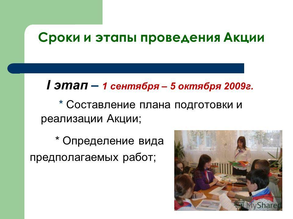 Сроки и этапы проведения Акции I этап – 1 сентября – 5 октября 2009г. * Составление плана подготовки и реализации Акции; * Определение вида предполагаемых работ;
