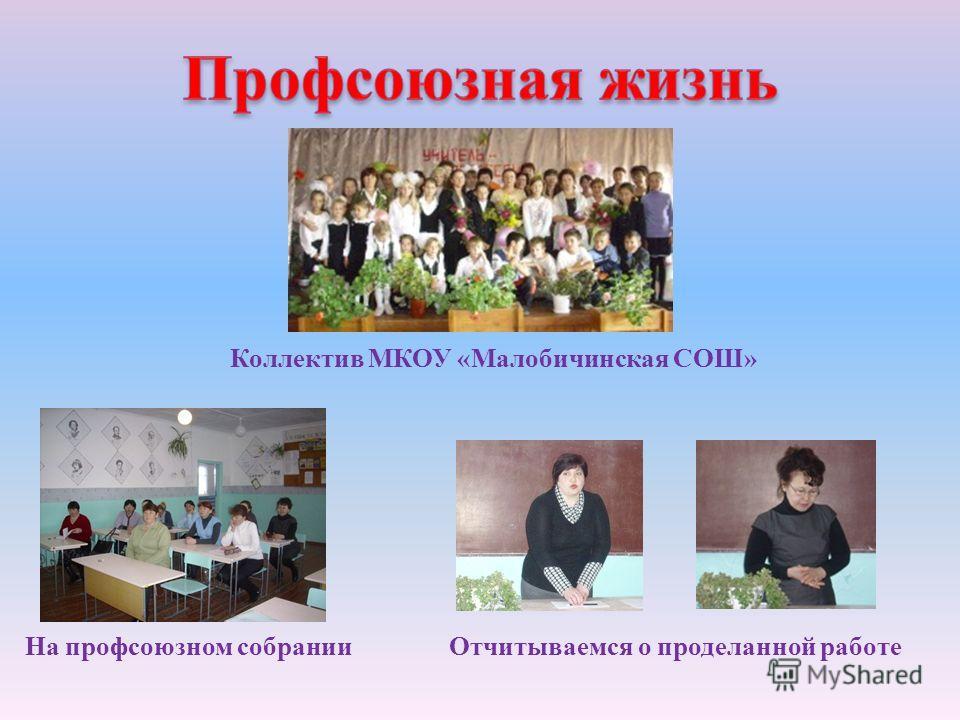 Коллектив МКОУ « Малобичинская СОШ » На профсоюзном собрании Отчитываемся о проделанной работе