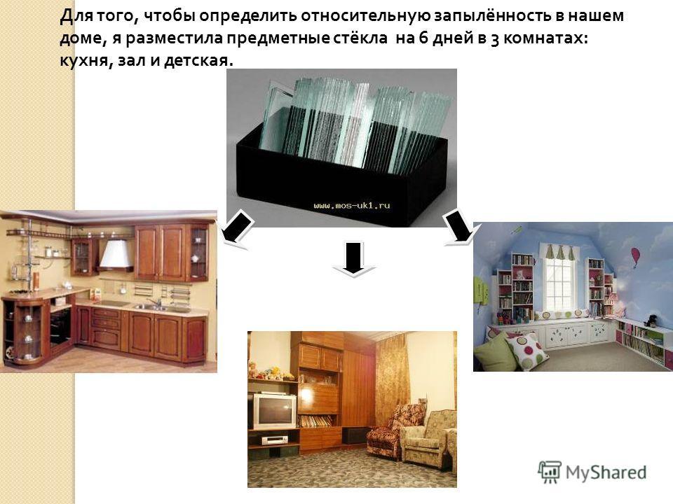 Для того, чтобы определить относительную запылённость в нашем доме, я разместила предметные стёкла на 6 дней в 3 комнатах: кухня, зал и детская.