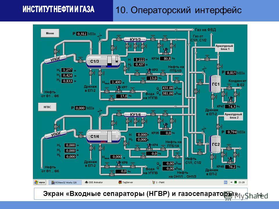 14 10. Операторский интерфейс Экран «Входные сепараторы (НГВР) и газосепараторы»