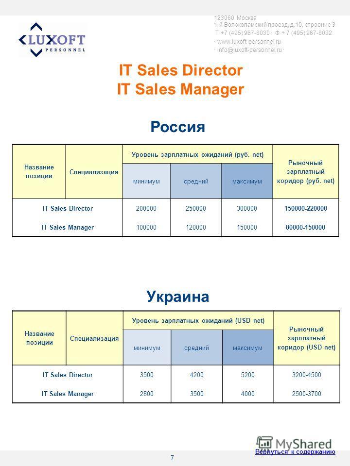 7 IT Sales Director IT Sales Manager 123060, Москва 1-й Волоколамский проезд, д.10, строение 3 T +7 (495) 967-8030 Ф + 7 (495) 967-8032 www.luxoft-personnel.ru info@luxoft-personnel.ru Название позиции Специализация Уровень зарплатных ожиданий (руб.