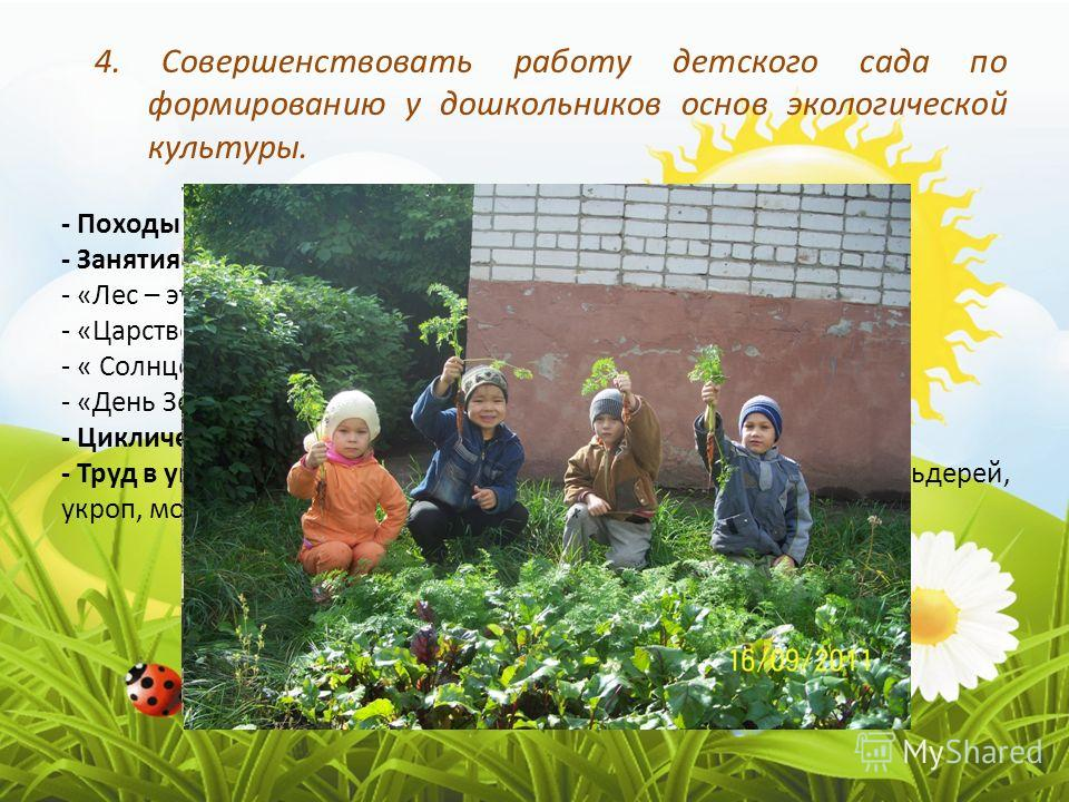 4. Совершенствовать работу детского сада по формированию у дошкольников основ экологической культуры. - Походы в Ельниковскую рощу - Занятия по экологии: - «Лес – это богатство» - «Царство растений – это грибы» - « Солнце, воздух и вода – наши лучшие