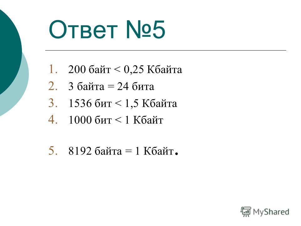 Ответ 5 1. 200 байт < 0,25 Кбайта 2. 3 байта = 24 бита 3. 1536 бит < 1,5 Кбайта 4. 1000 бит < 1 Кбайт 5. 8192 байта = 1 Кбайт.
