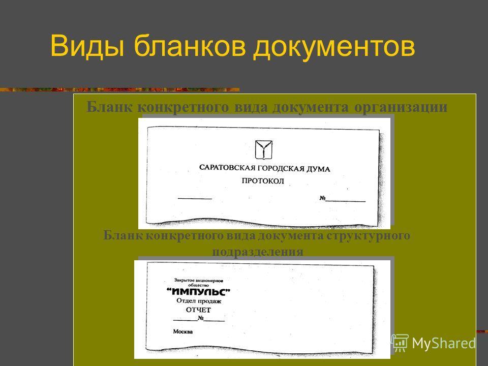 Бланк конкретного вида документа организации Бланк конкретного вида документа структурного подразделения Виды бланков документов