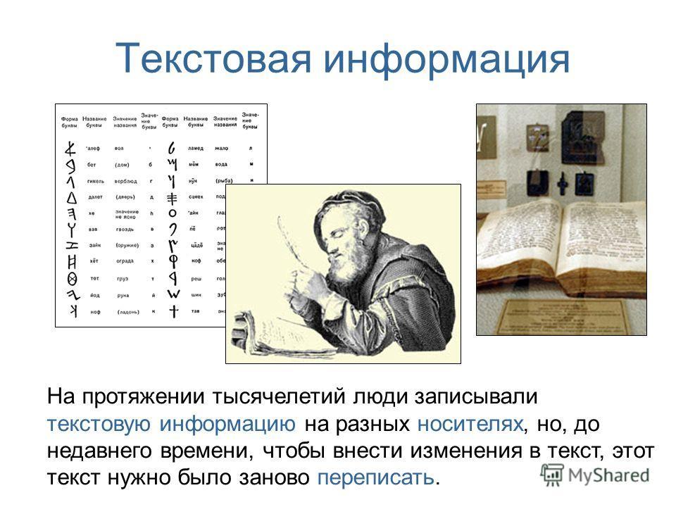 Текстовая информация На протяжении тысячелетий люди записывали текстовую информацию на разных носителях, но, до недавнего времени, чтобы внести изменения в текст, этот текст нужно было заново переписать.