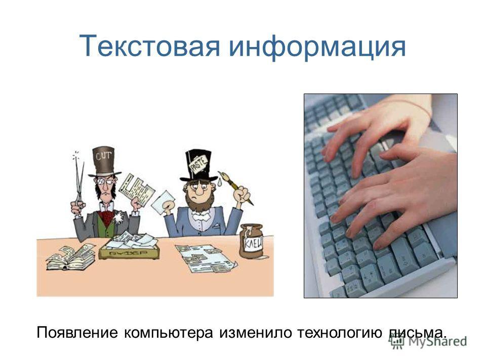 Текстовая информация Появление компьютера изменило технологию письма.