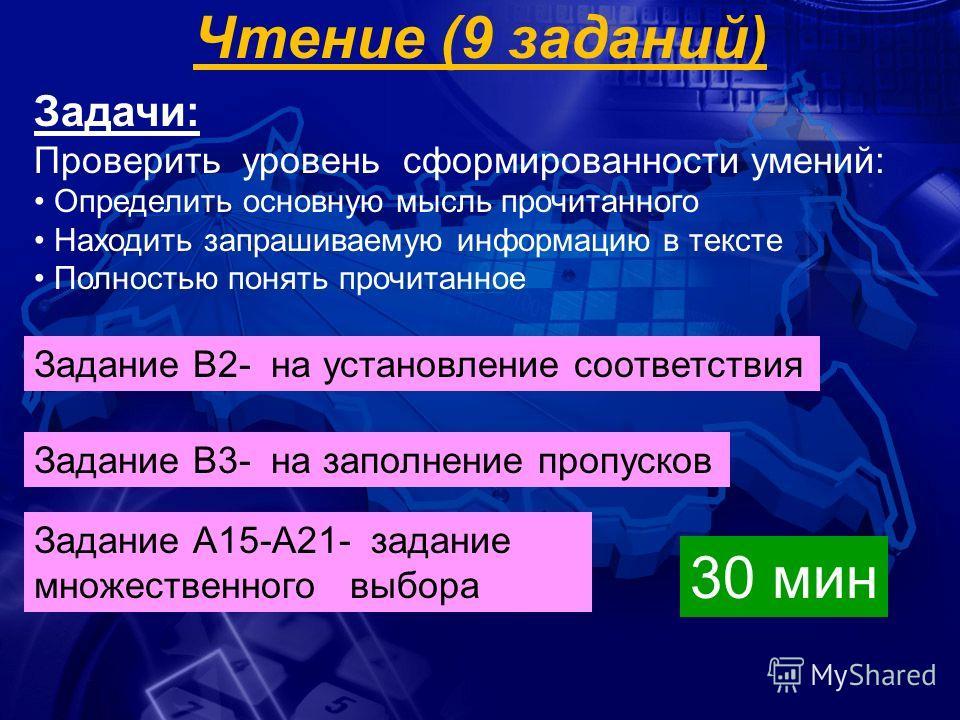 Чтение (9 заданий) Задачи: Проверить уровень сформированности умений: Определить основную мысль прочитанного Находить запрашиваемую информацию в тексте Полностью понять прочитанное Задание В2- на установление соответствия Задание В3- на заполнение пр