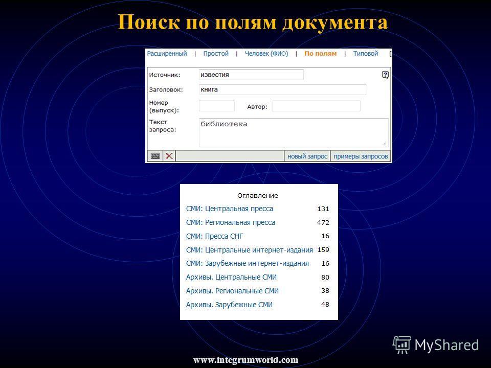 Поиск по полям документа www.integrumworld.com