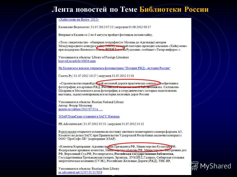 Лента новостей по Теме Библиотеки России