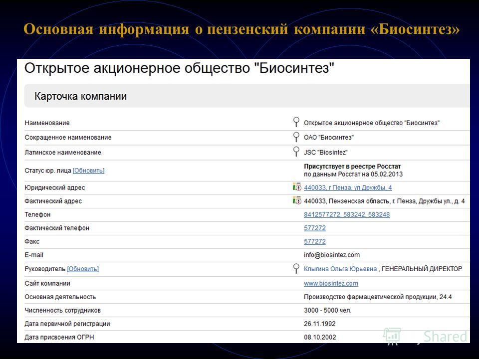 Основная информация о пензенский компании «Биосинтез»