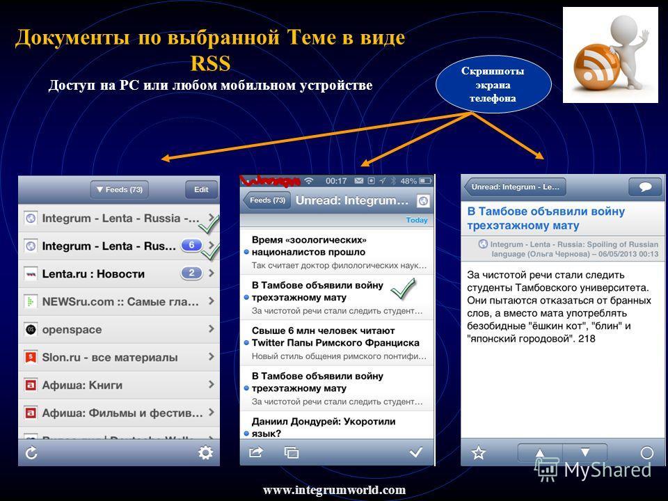 www.integrumworld.com Документы по выбранной Теме в виде RSS Доступ на PC или любом мобильном устройстве Скриншоты экрана телефона