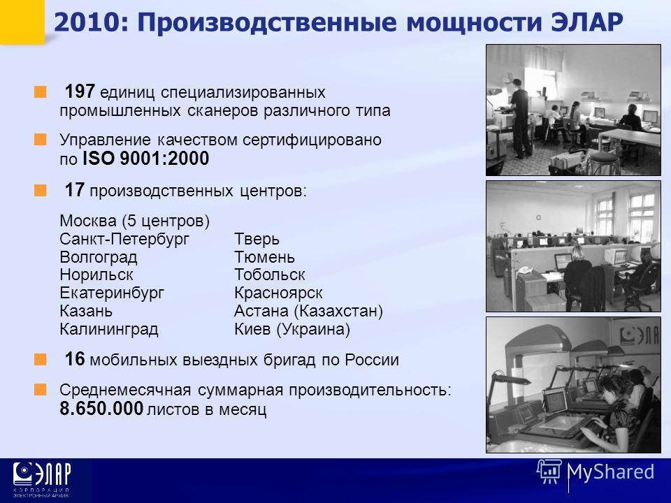 197 единиц специализированных промышленных сканеров различного типа Управление качеством сертифицировано по ISO 9001:2000 17 производственных центров: Москва (5 центров) Санкт-ПетербургТверь ВолгоградТюмень НорильскТобольск ЕкатеринбургКрасноярск Каз