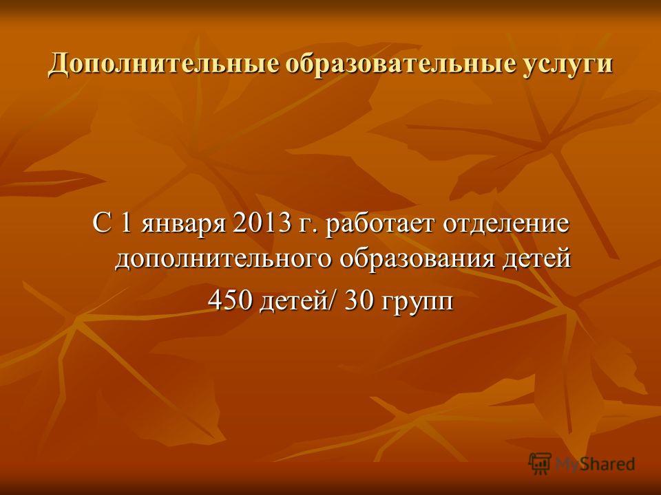Дополнительные образовательные услуги С 1 января 2013 г. работает отделение дополнительного образования детей 450 детей/ 30 групп