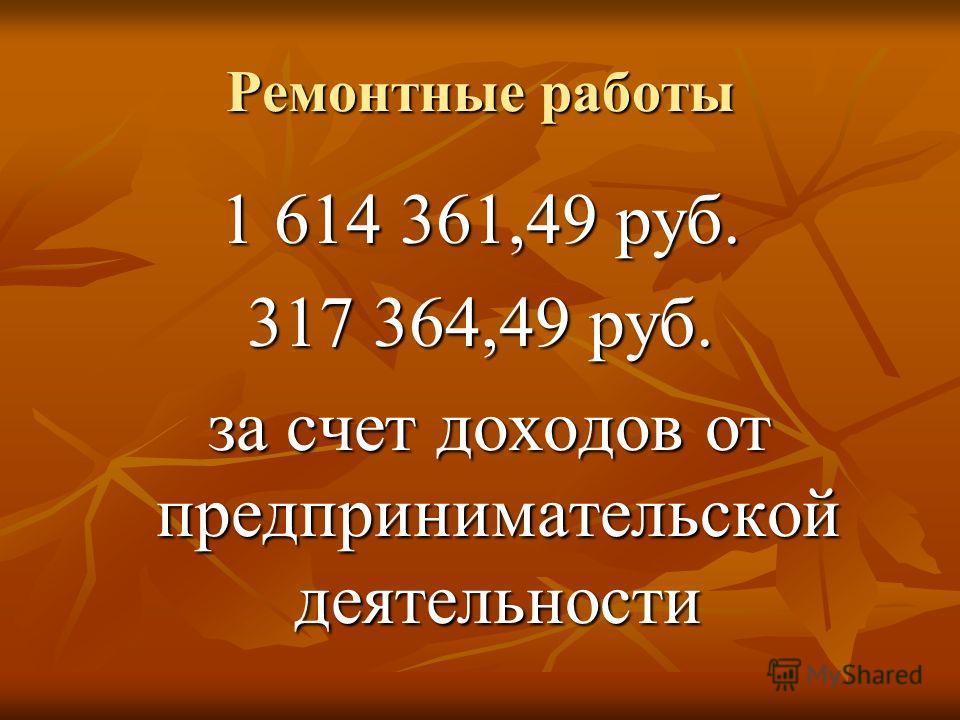 Ремонтные работы 1 614 361,49 руб. 317 364,49 руб. за счет доходов от предпринимательской деятельности за счет доходов от предпринимательской деятельности