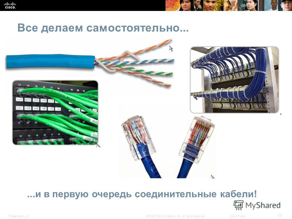Presentation_ID 13 © 2008 Cisco Systems, Inc. All rights reserved.Cisco Public Все делаем самостоятельно......и в первую очередь соединительные кабели!