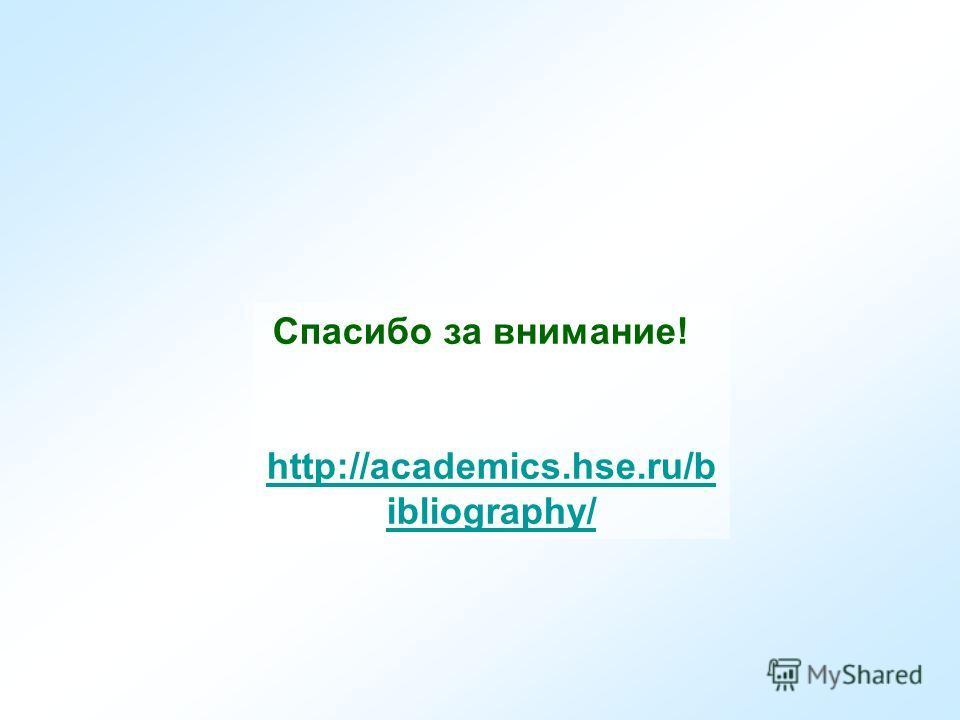 Спасибо за внимание! http://academics.hse.ru/b ibliography/