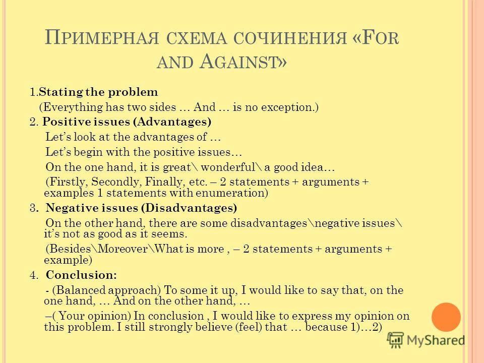 П РИМЕРНАЯ СХЕМА СОЧИНЕНИЯ «F OR AND A GAINST » 1. Stating the problem (Everything has two sides … And … is no exception.) 2. Positive issues (Advantages) Lets look at the advantages of … Lets begin with the positive issues… On the one hand, it is gr